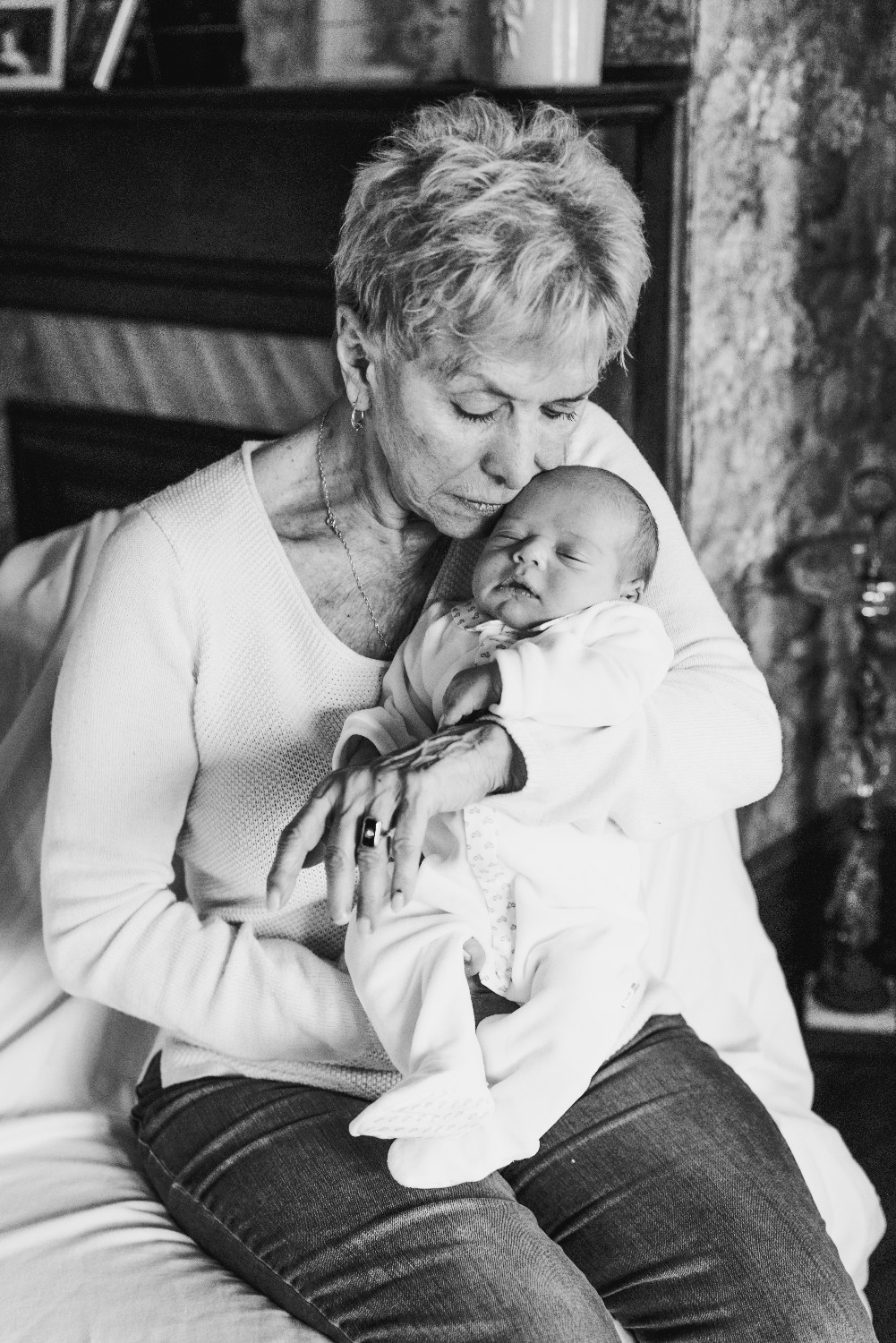Grandmother and Grandson Newborn Portraits