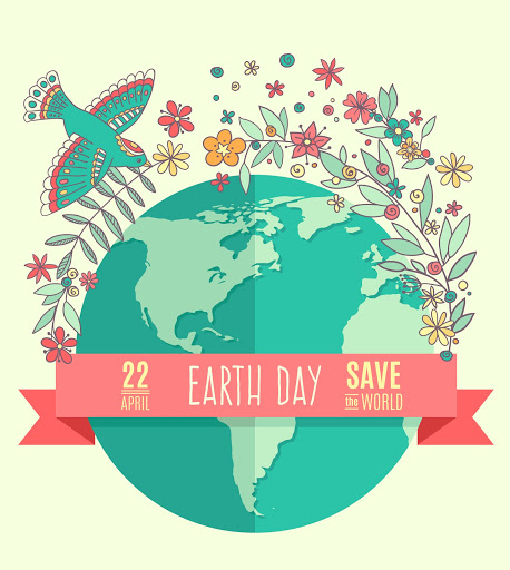 Globe on a beige background, surrounded by flowers and leaves. The inscription on the banner of Earth Day, April 22, Save the World. Vector Illustration