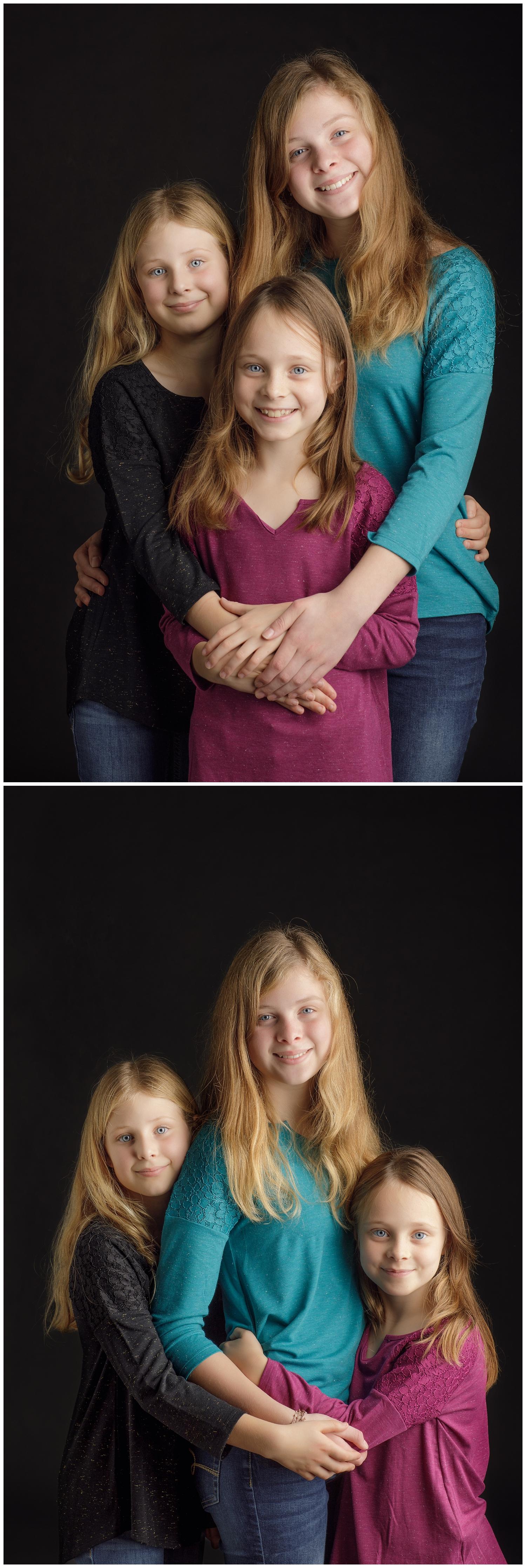 Three sisters photographed in studio in Wakefield, RI