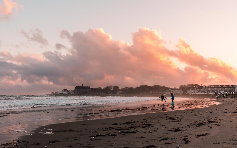 Sunset at Narragansett Town Beach in November