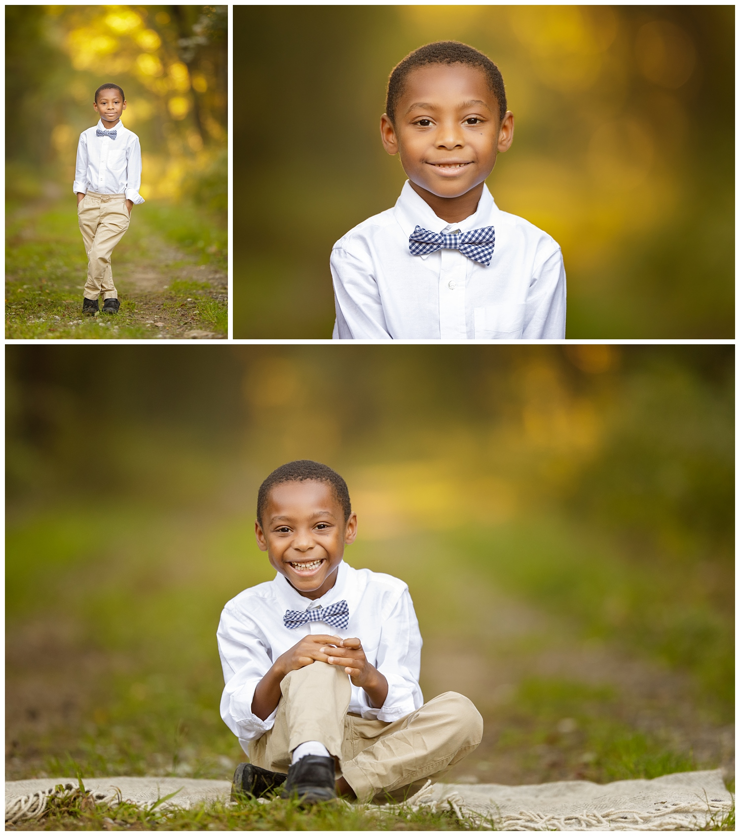 Portrait of boy in woods in South Kingstown, RI