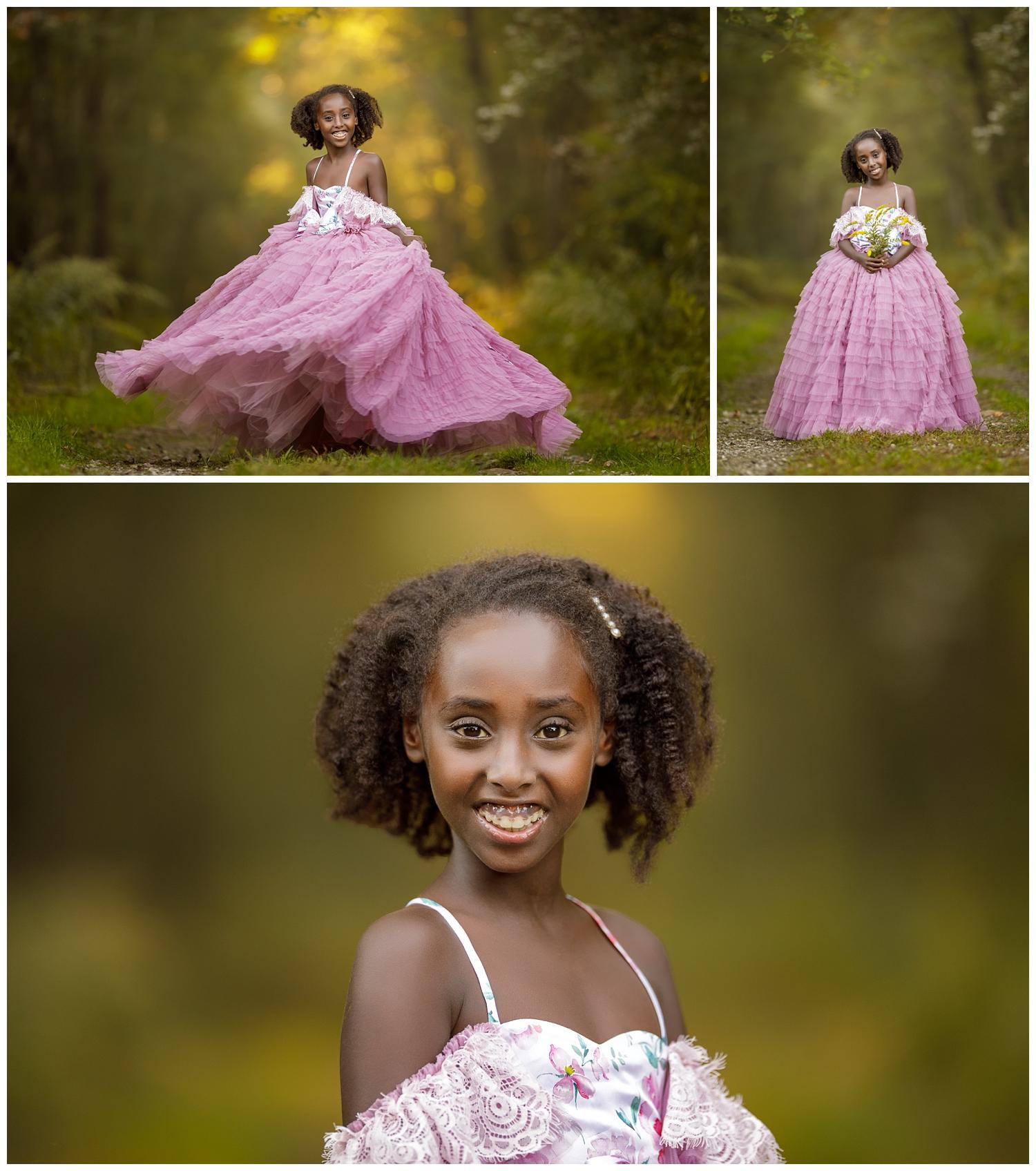 Portraits of girl in woods in Wakefield, RI