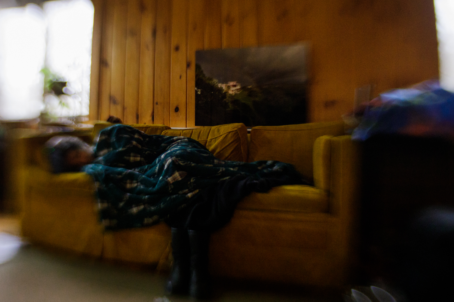 woman sleeping on a couch