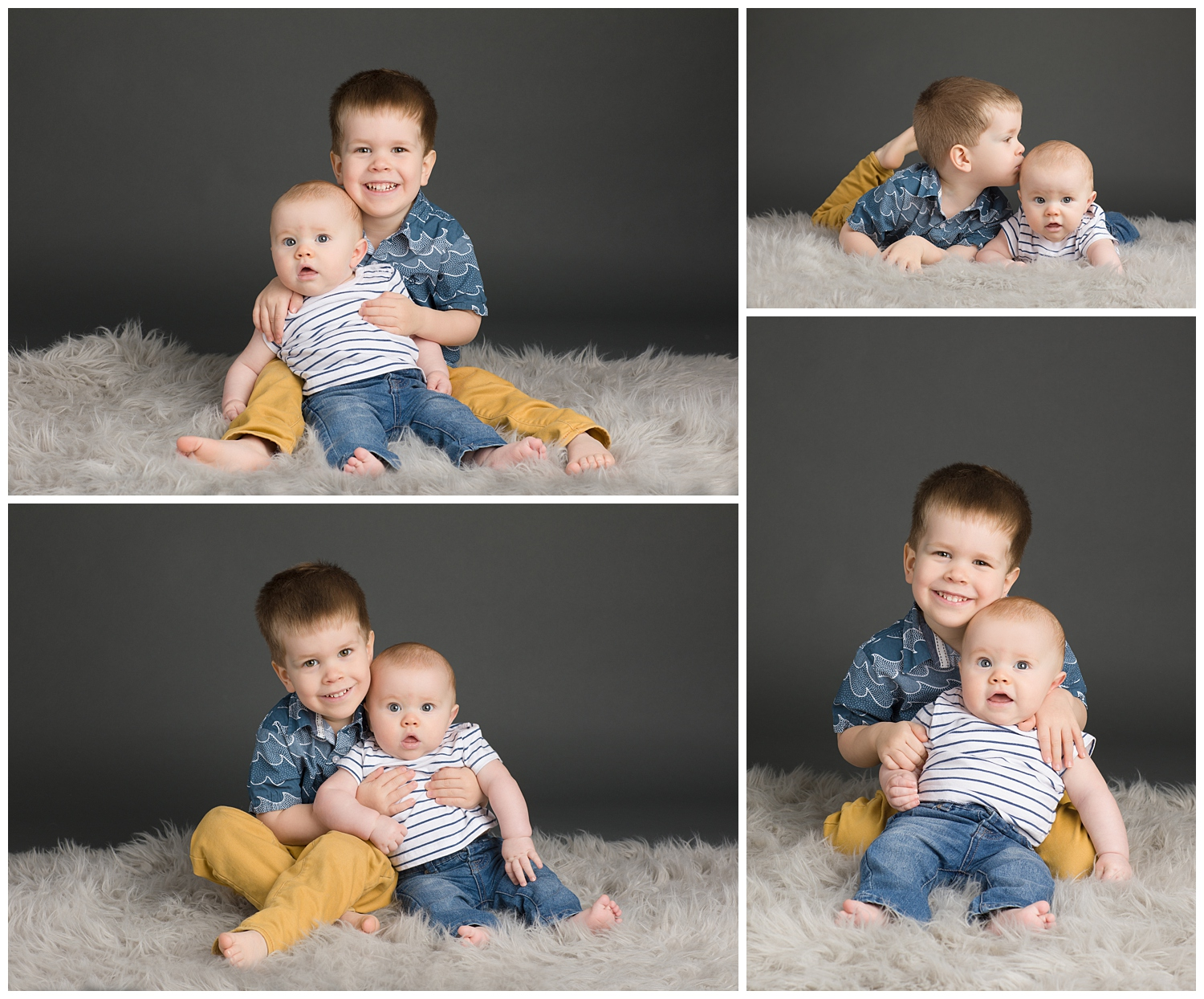 photos of two young brothers in a photography studio