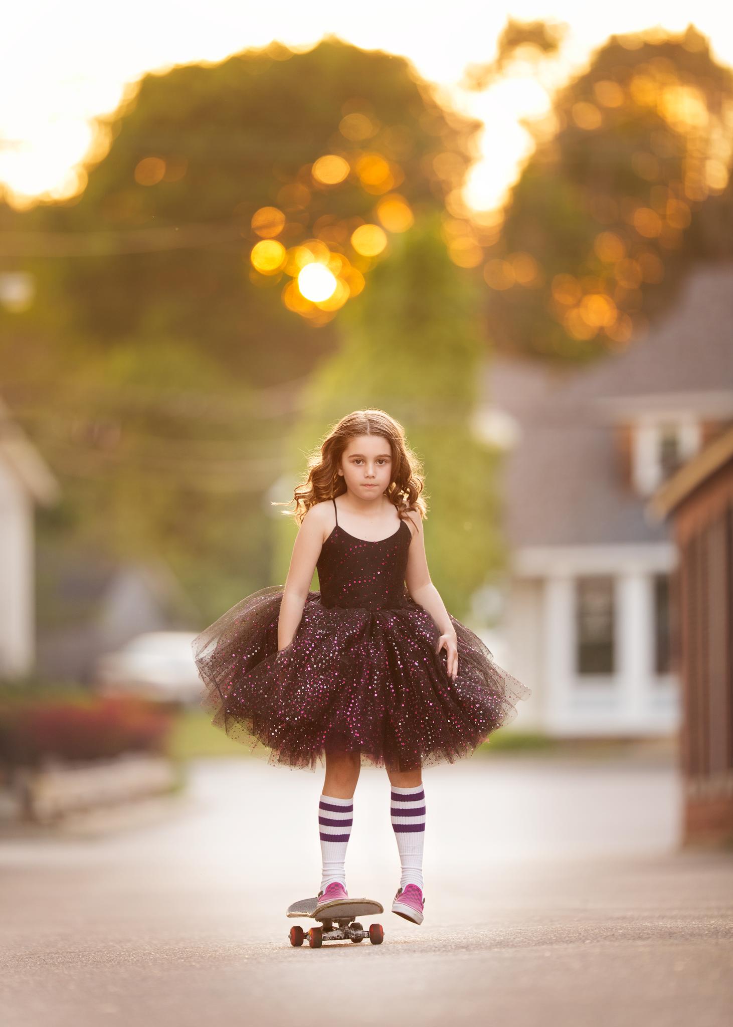 girl skateboarding in princess dress in Wakefield, RI