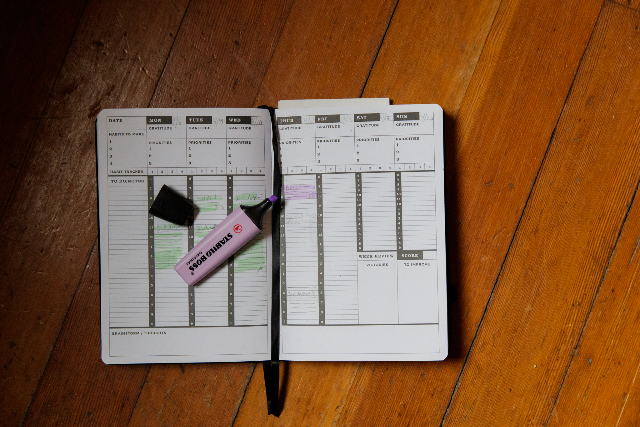 highlighter and planner