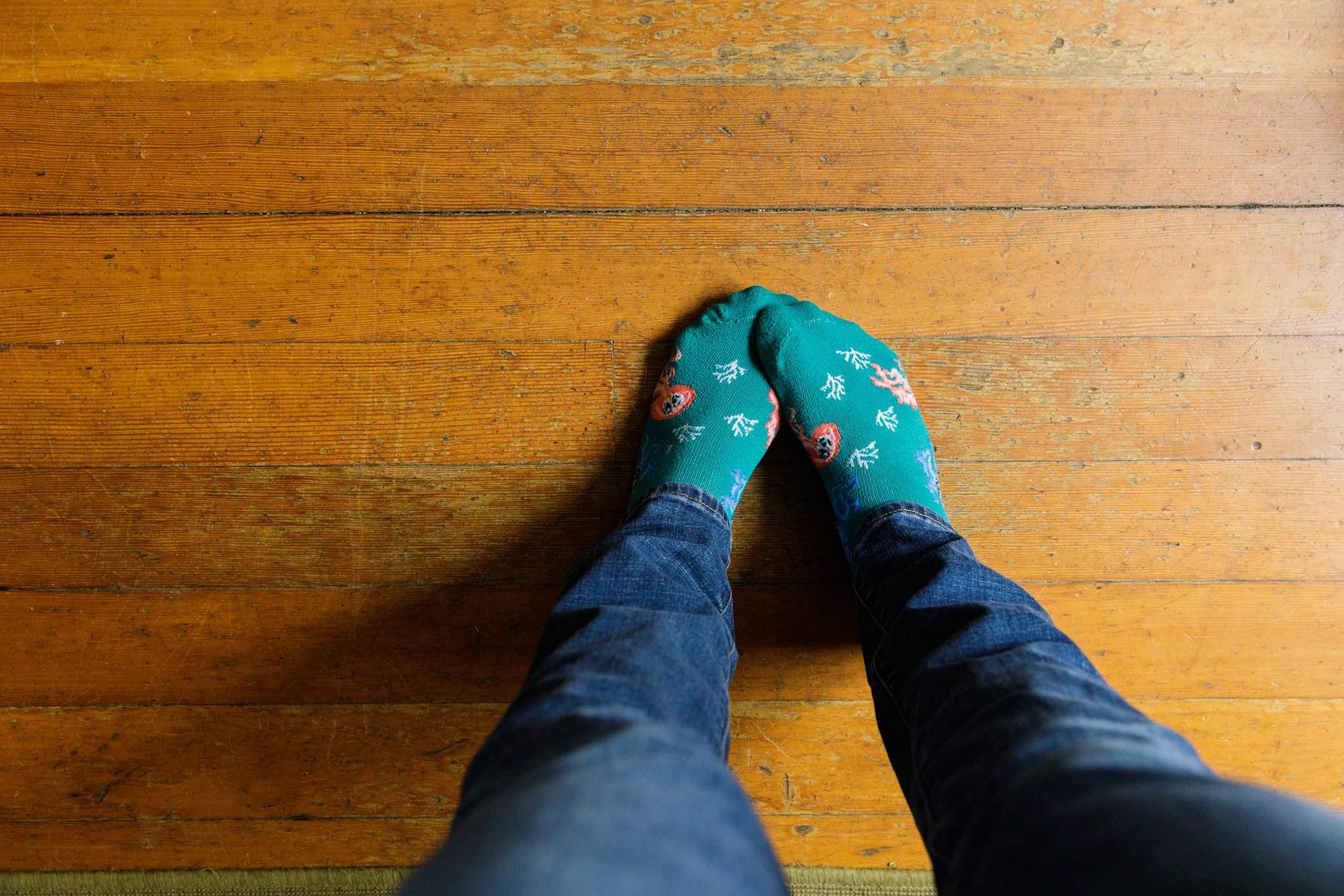 woman's feet with octopus socks