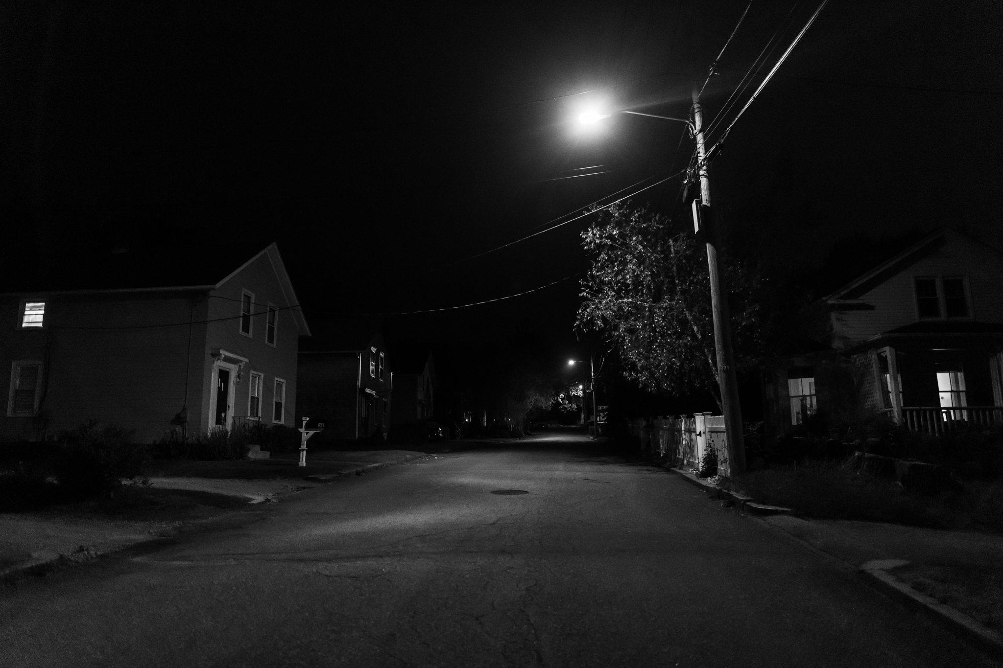Schaeffer St. in Wakefield, RI at night