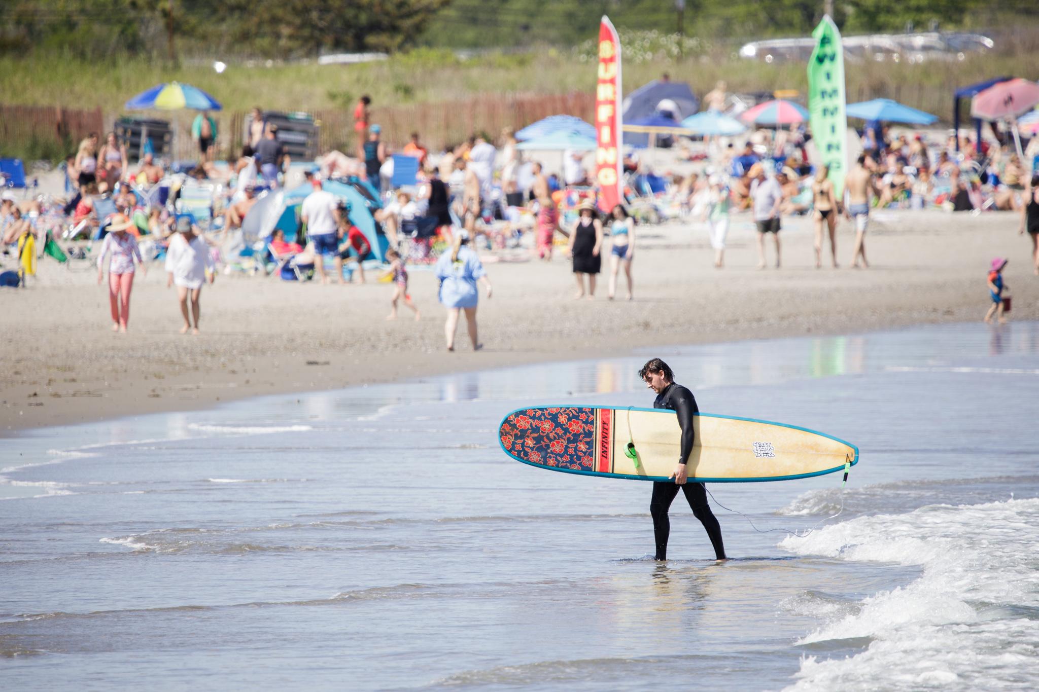 surfer at Narragansett Pier, RI