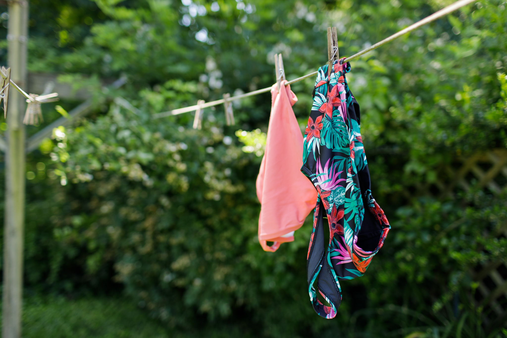 bathing suit hanging on a clothesline