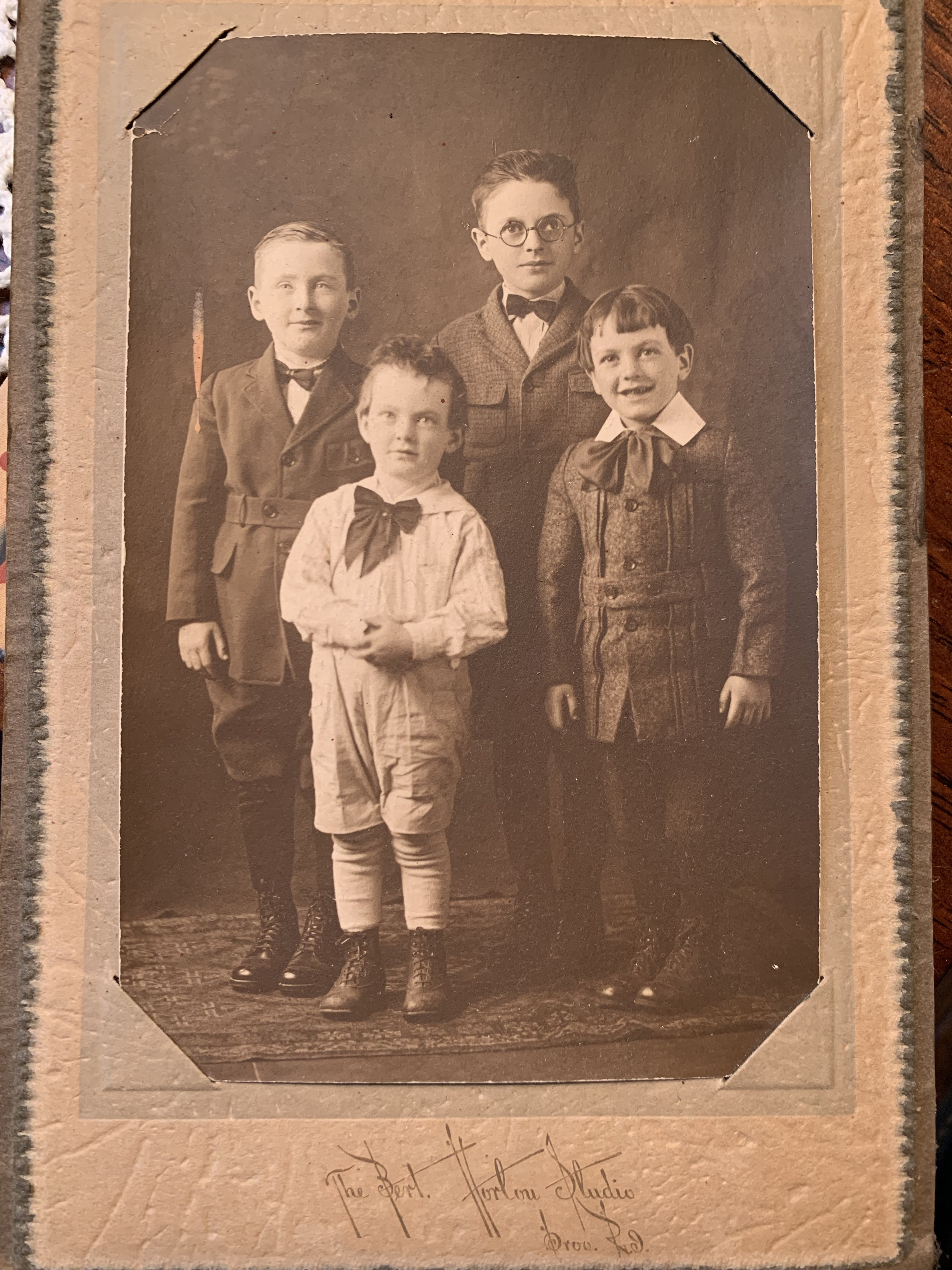 antique image of four young boys taken in Providence, RI