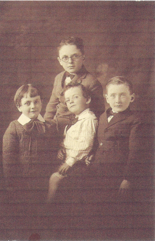 Studio image of four boys taken in 1915 in Providence, RI