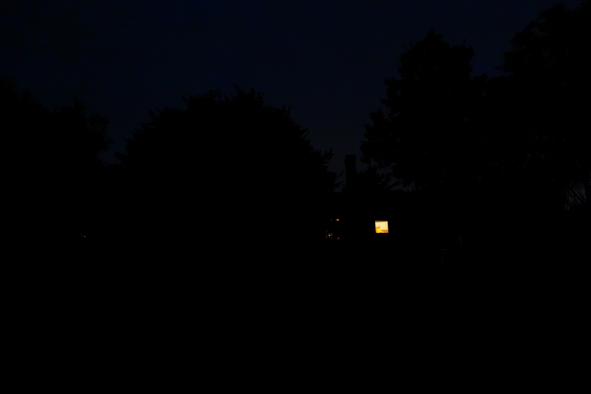 nighttime view of backyard in Wakefield, RI