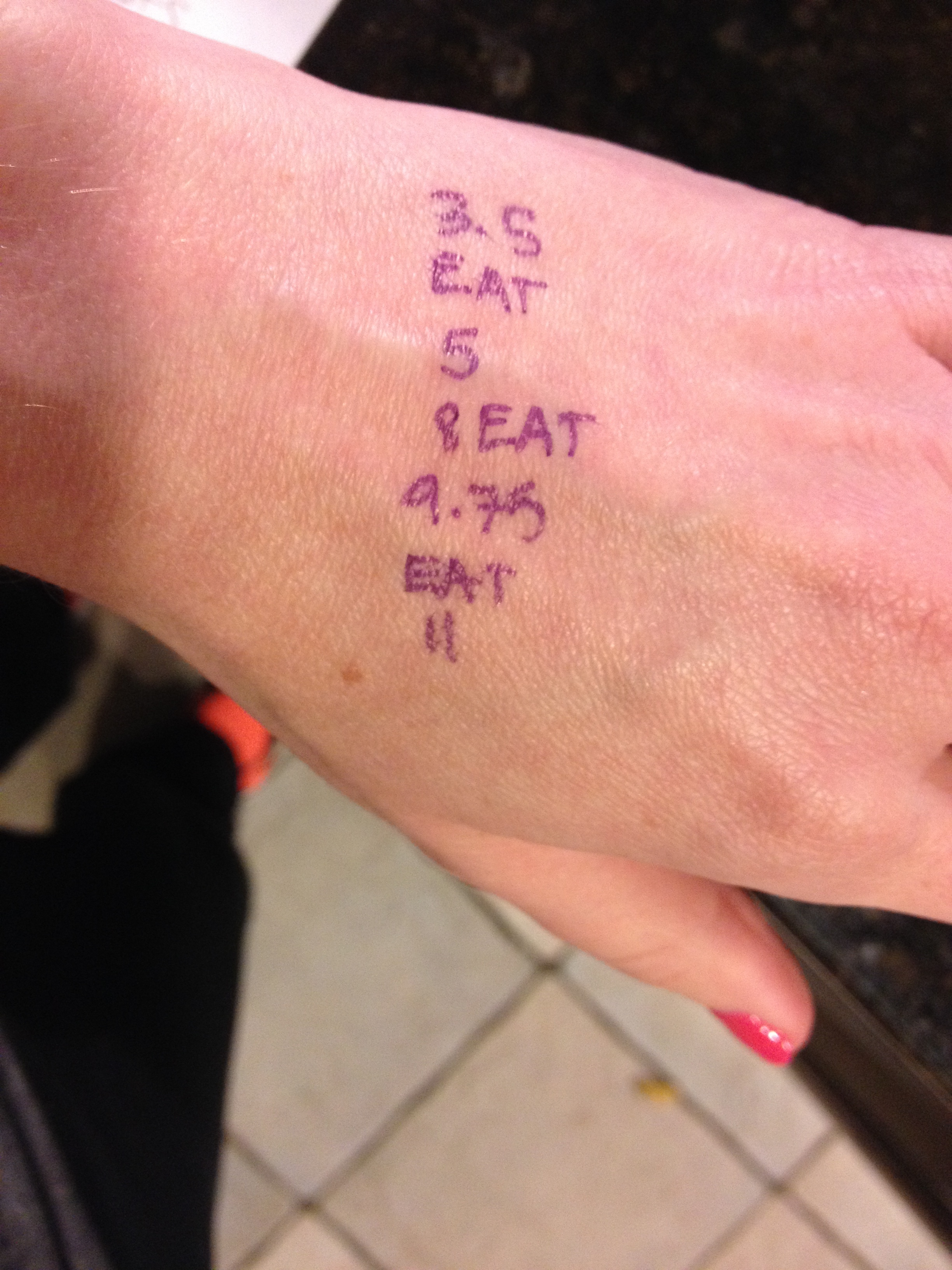 I wrote out the water and fuel stops on my hand because by mile 6 all of my extra brain power is going to my legs and otherwise I'll forget to do any of these things.