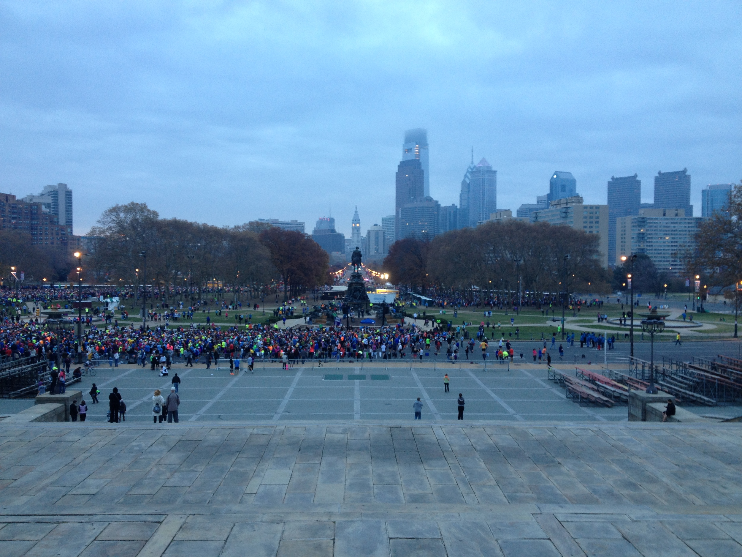 View from the Rocky Stairs. Alll those crazy people about to go running...
