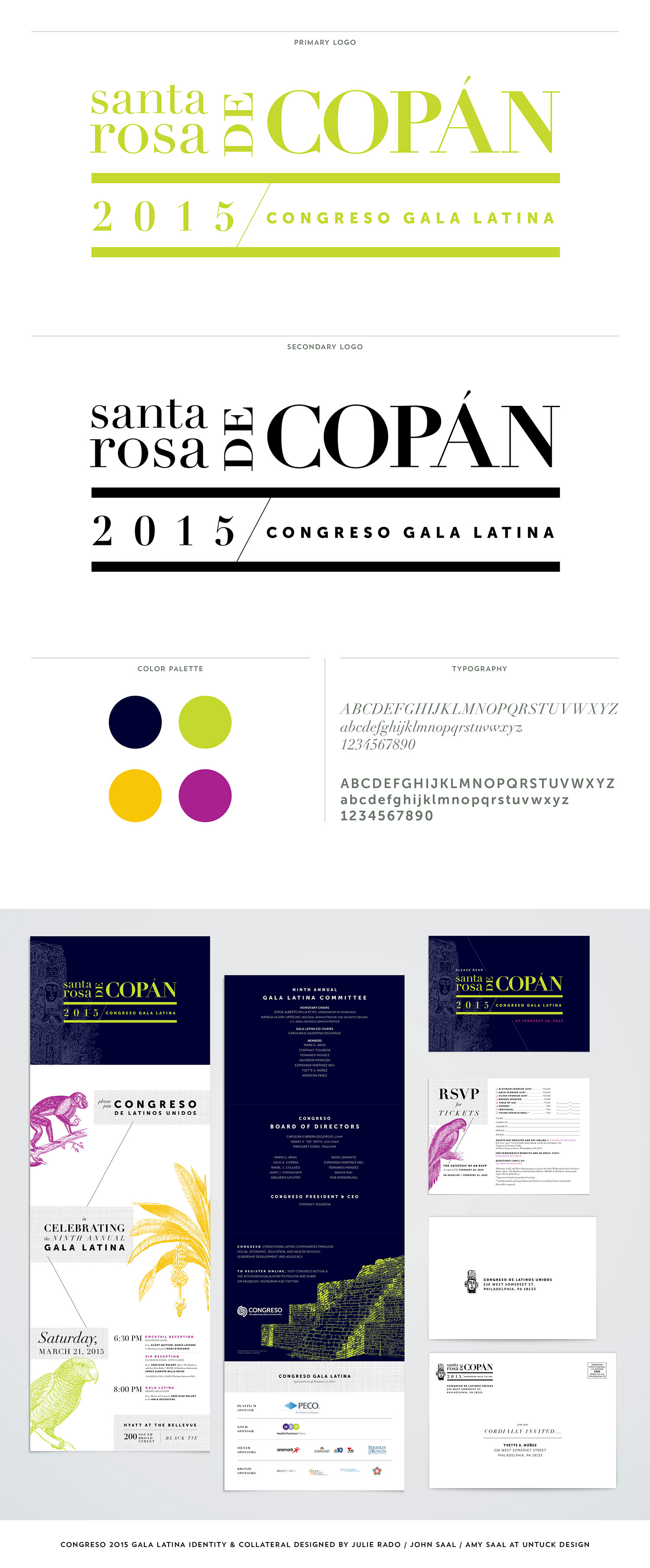 Congreso 2015 Gala Latina Identity & Collateral designed by Julie Rado / John Saal / Amy Saal at Untuck Design