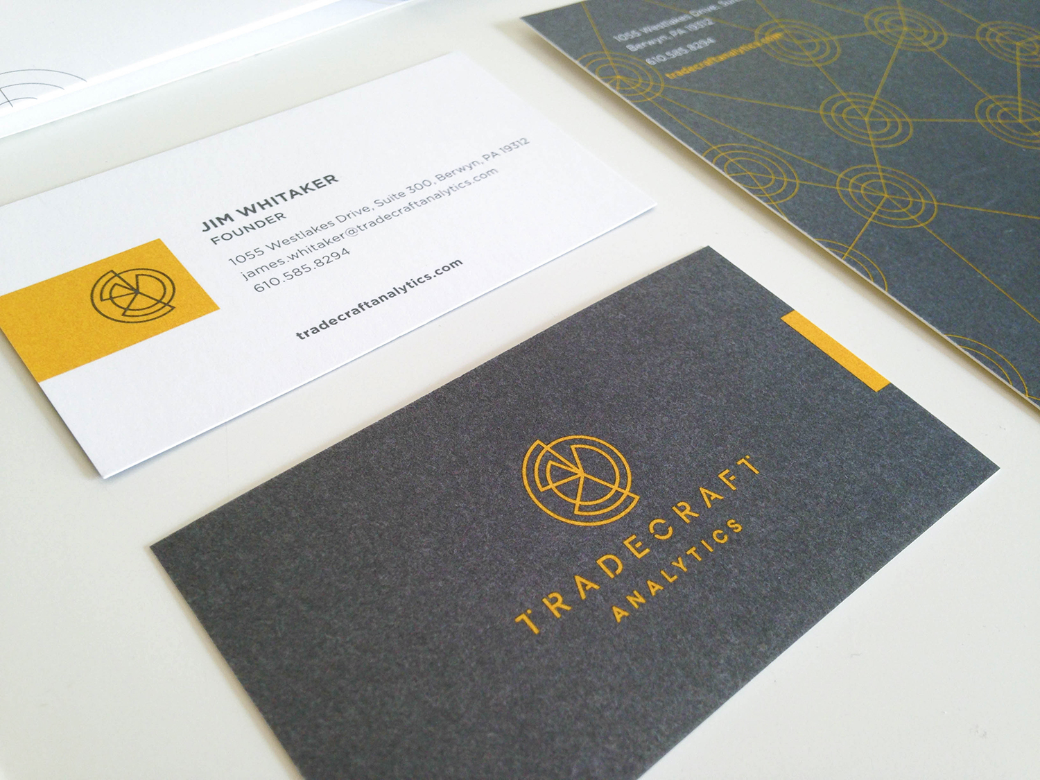 Tradecraft Analytics Logo & Collateral, Julie Rado / John Saal / Amy Saal at Untuck Design