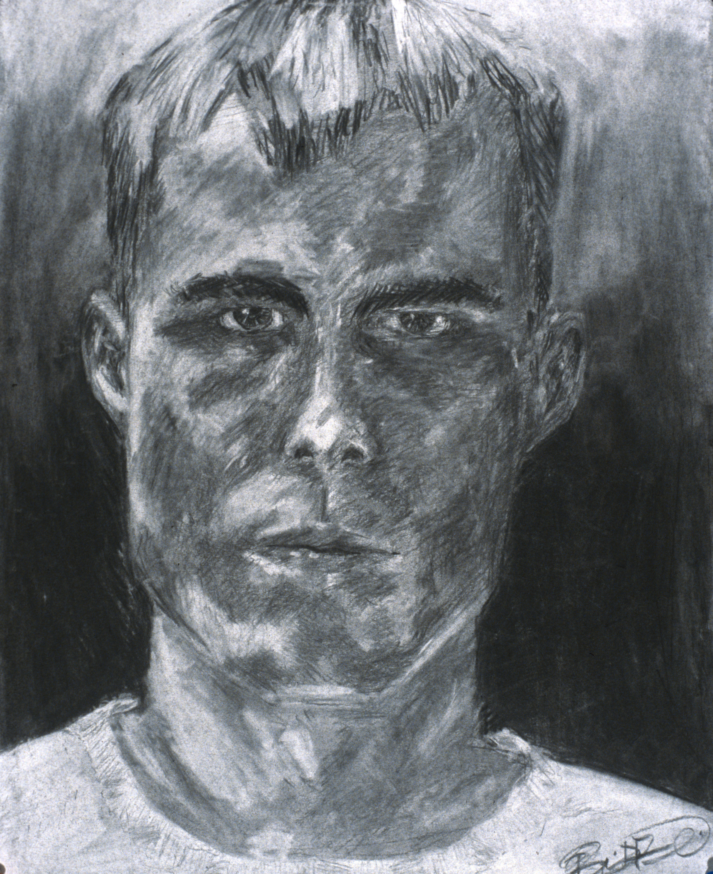 Self-portrait; charcoal