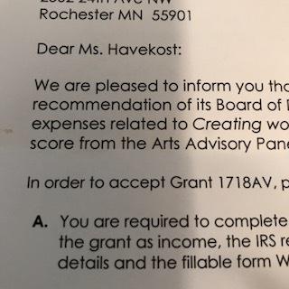 acceptance letter grant
