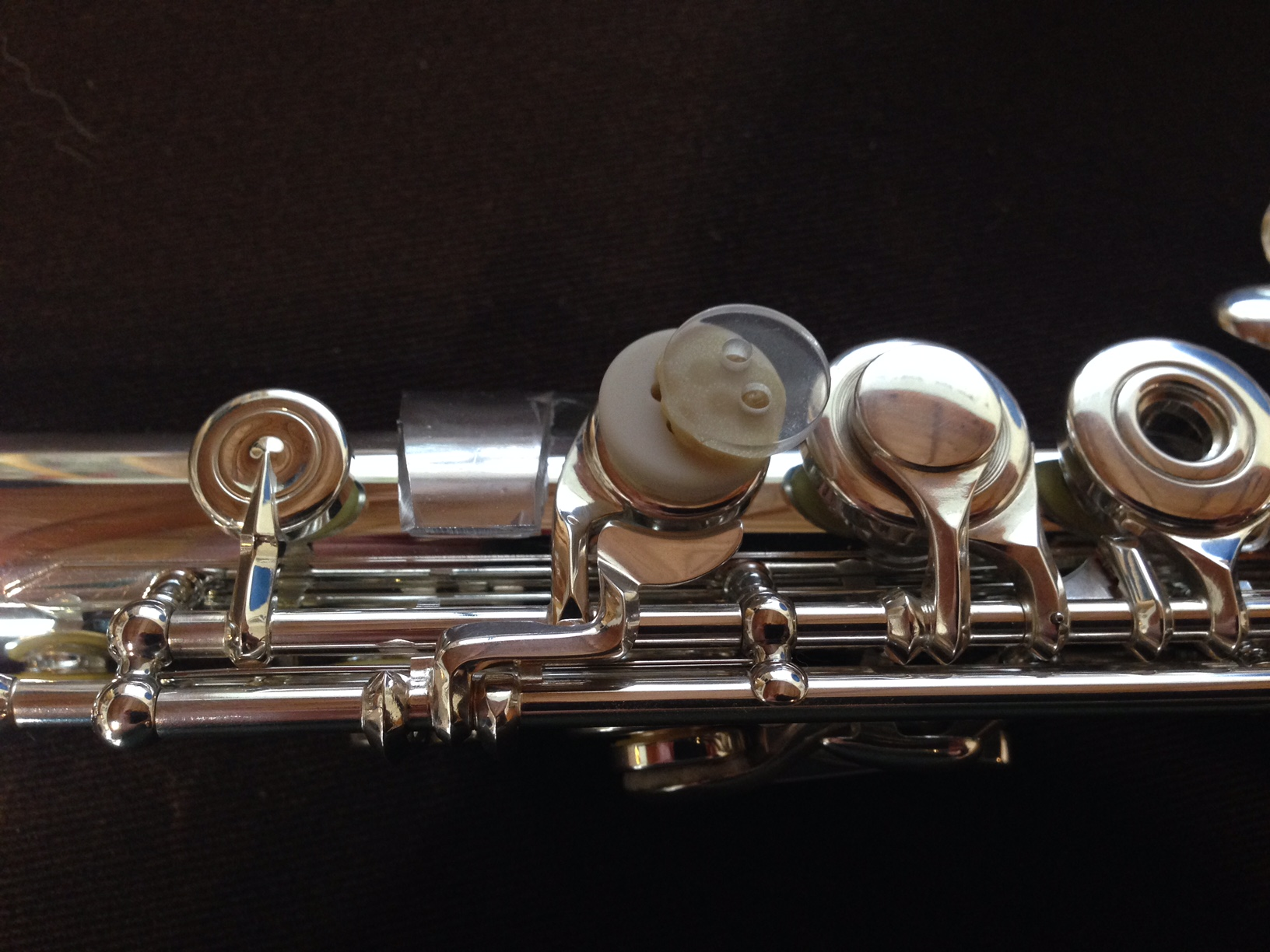 I had to remove the buttons on this flute in order to actually use all the extra Kingma system keys but here's another view of the buttons. Way cheaper than the plastic Brannen C# extension.