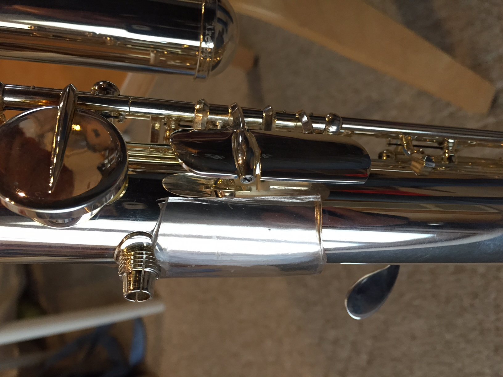 another view of the plastic tube part on my bass flute