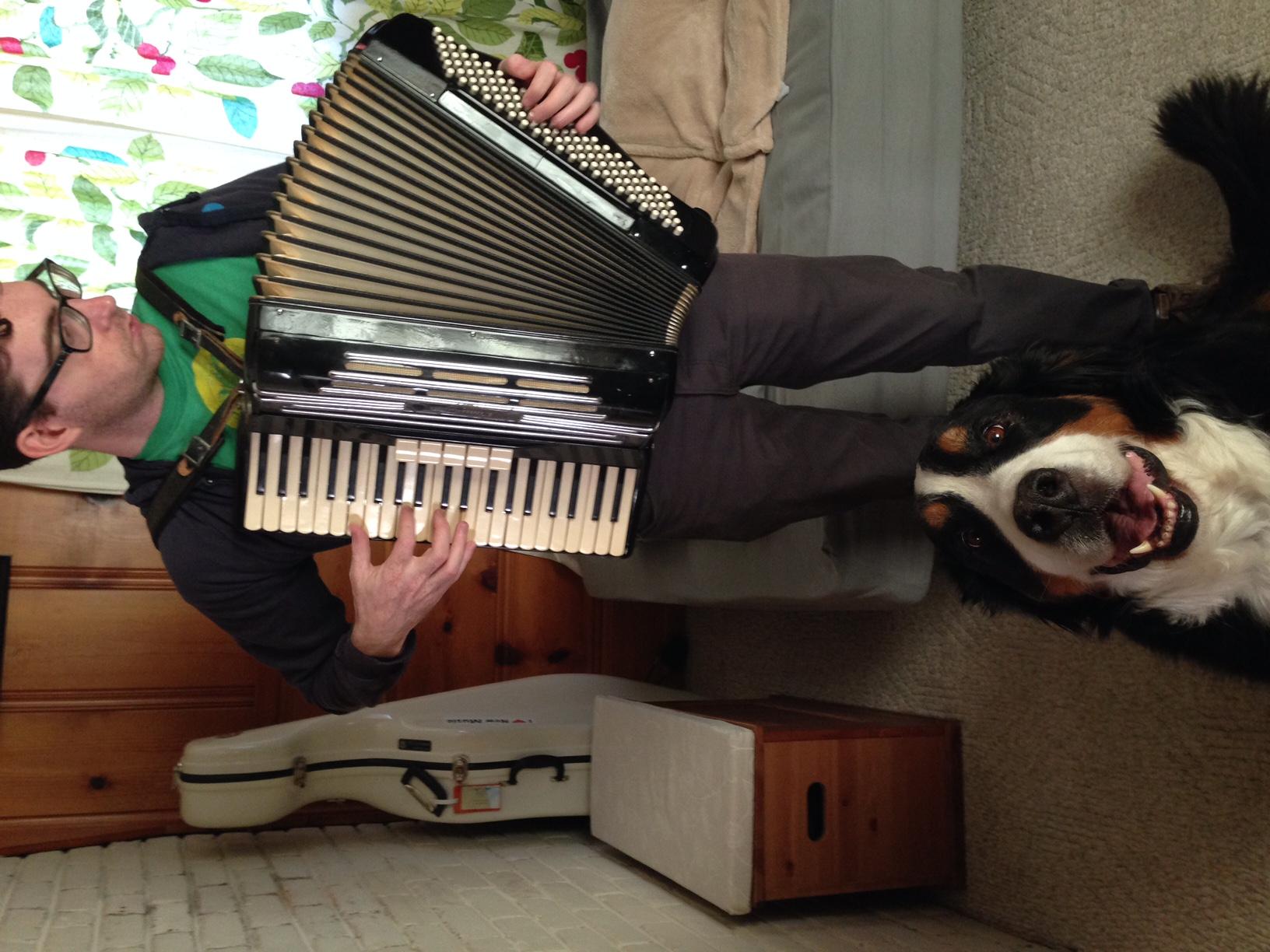 Got an accordion serenade from Isaac Schankler.