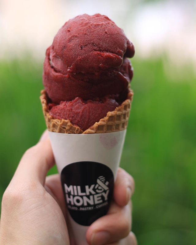 $2 gelato with cone. Selected flavour only: blackcurrant sorbet, roseberry and cucumber yogurt. *while stock last. 😋 #milkandhoneygelato