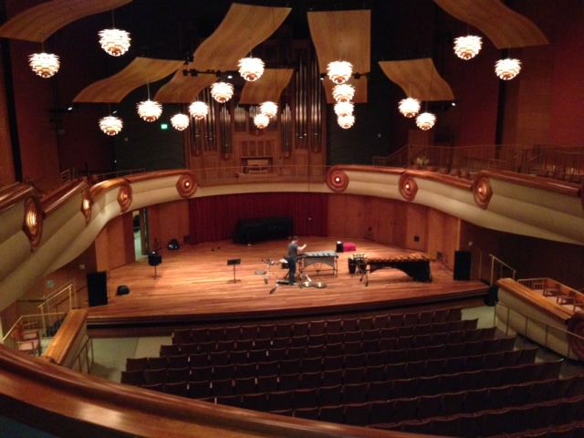 Chris setting up for our concert at the beautiful Legacy Hall at the Schwob School of Music at Columbus State University.