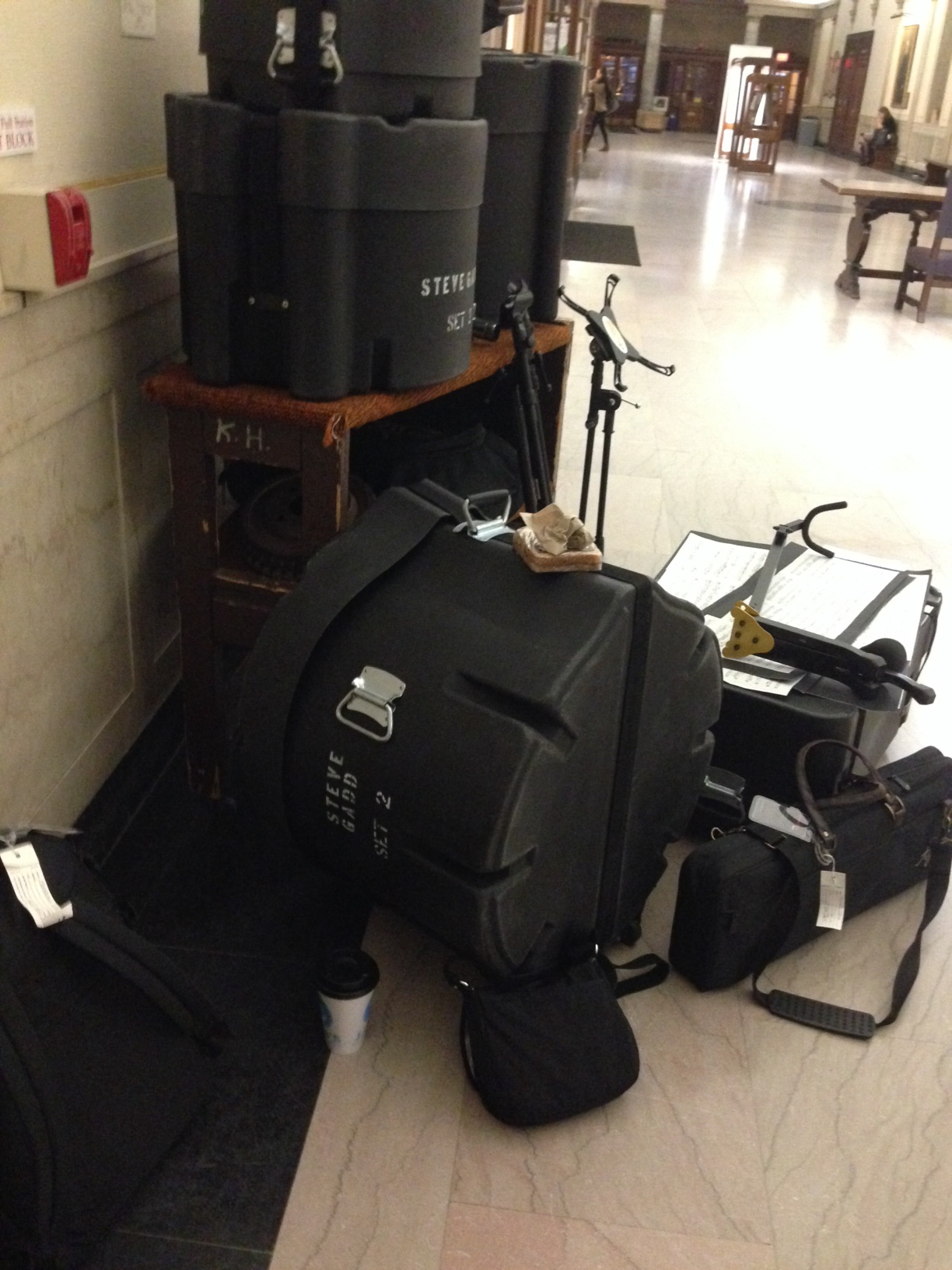 Chris was excited to be able to use one of Steve Gadd's drum kits for this concert at Eastman. (This is just half of our gear in the photo!)