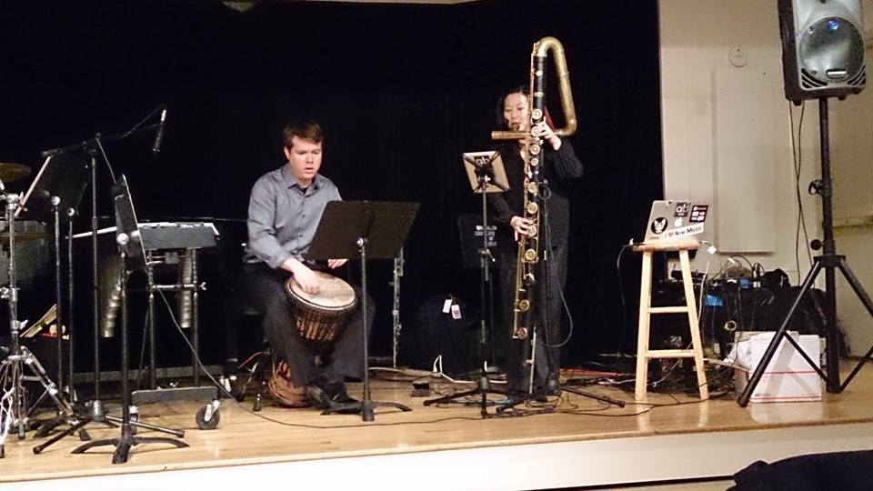 Performing Carolyn O'Brien's Nocturne for contrabass flute and djembe at the Brooklyn Conservatory of Music. (Photo by Jennifer Justice)