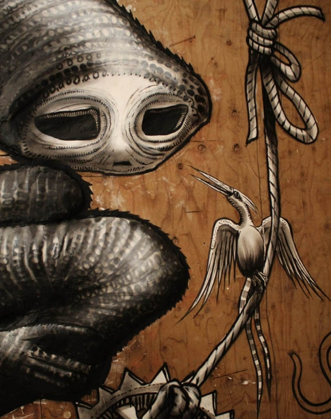 An image depicting one of Phlegm's haunting fantasy creatures. Source: Artslant.