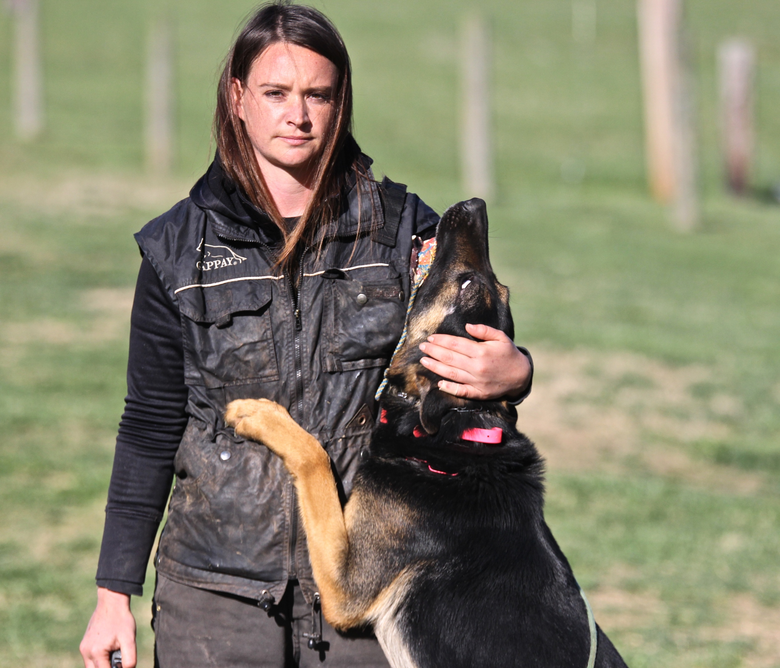 Margaret and her dog Leo vom Reeboch