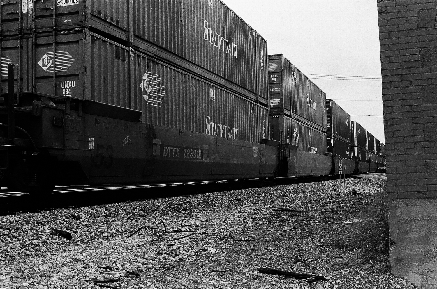 The train tracks behind the antique store (film).