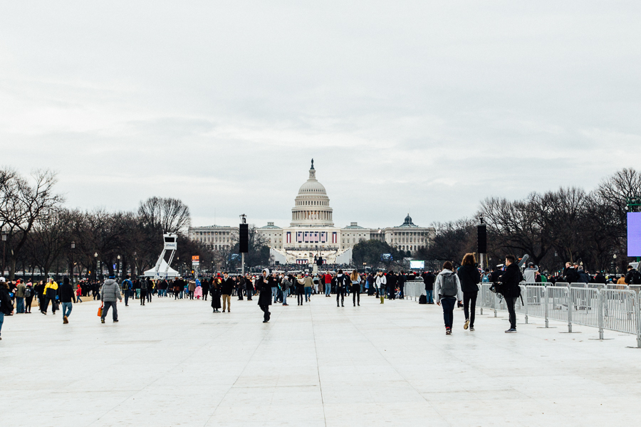 View of the Capitol Building before the inauguration began. People were still filing in to find a place to sit or stand.