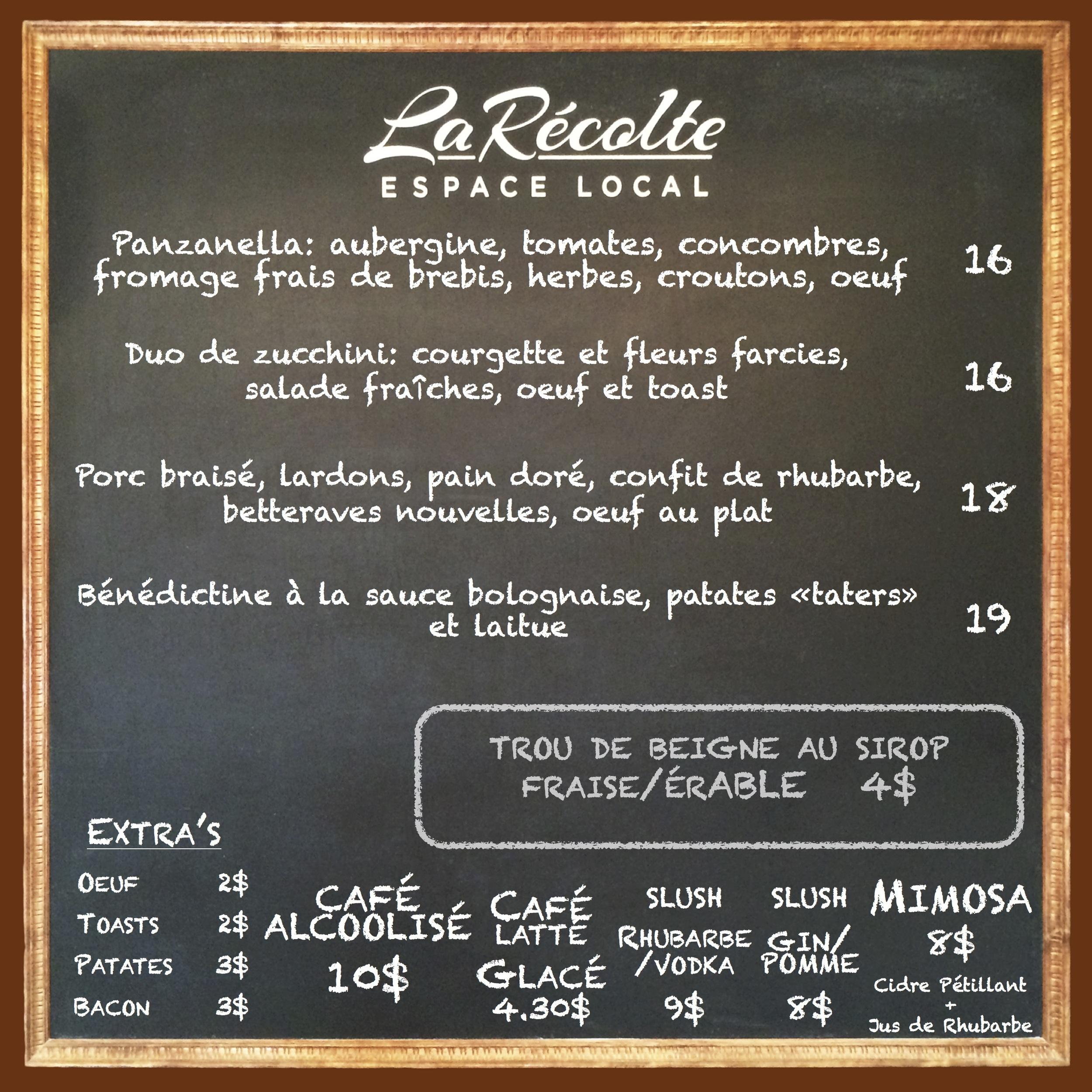 menu : 11 + 12 juillet