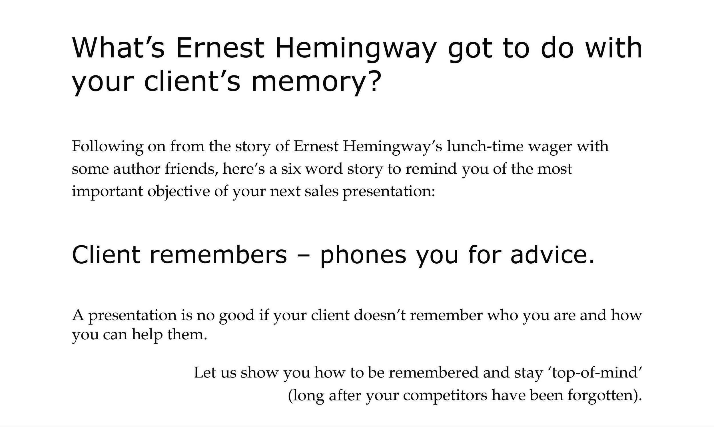 Clients Remember