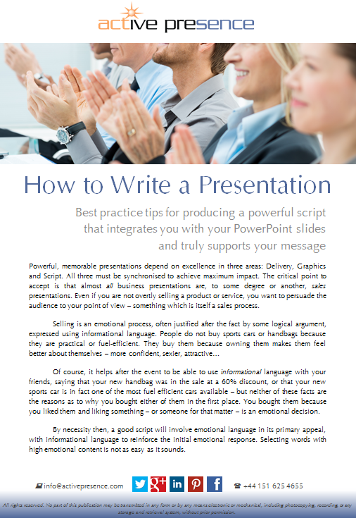 how to write a presentation free advice