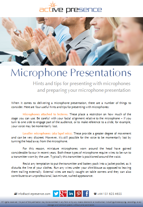 microphone presentations free advice