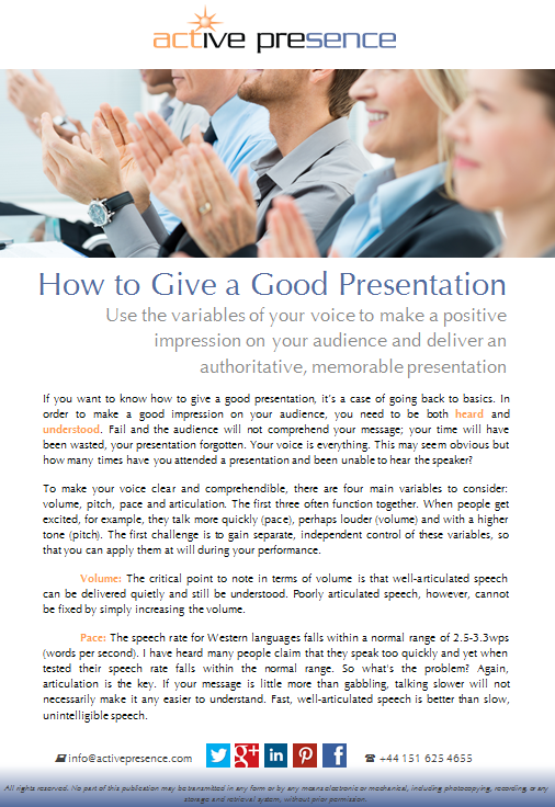 how to give a good presentation free advice