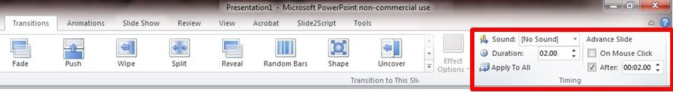 Set the duration of your slide transitions here