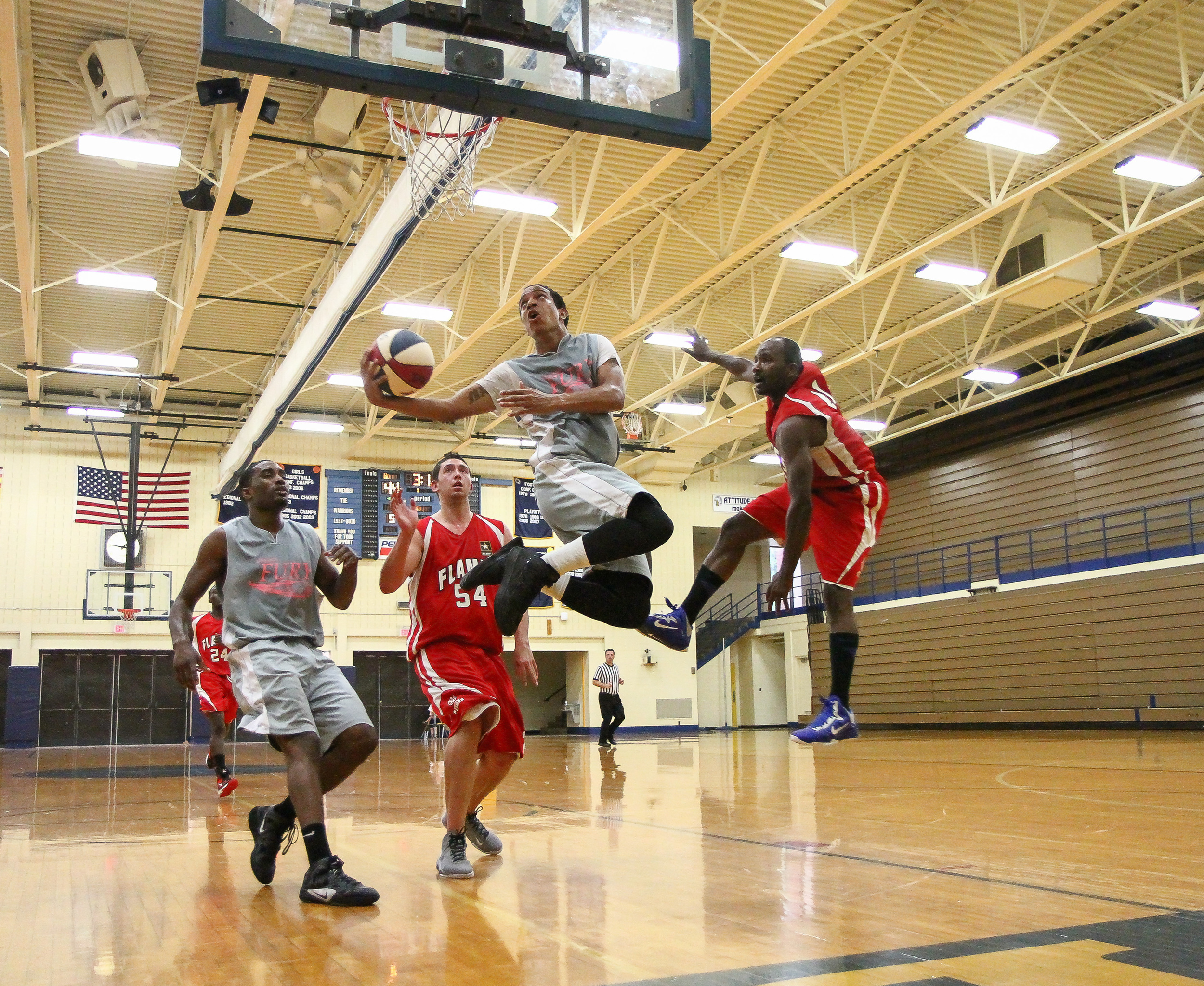 A Chicago Fury player attempts to score against the Midwest Flames.