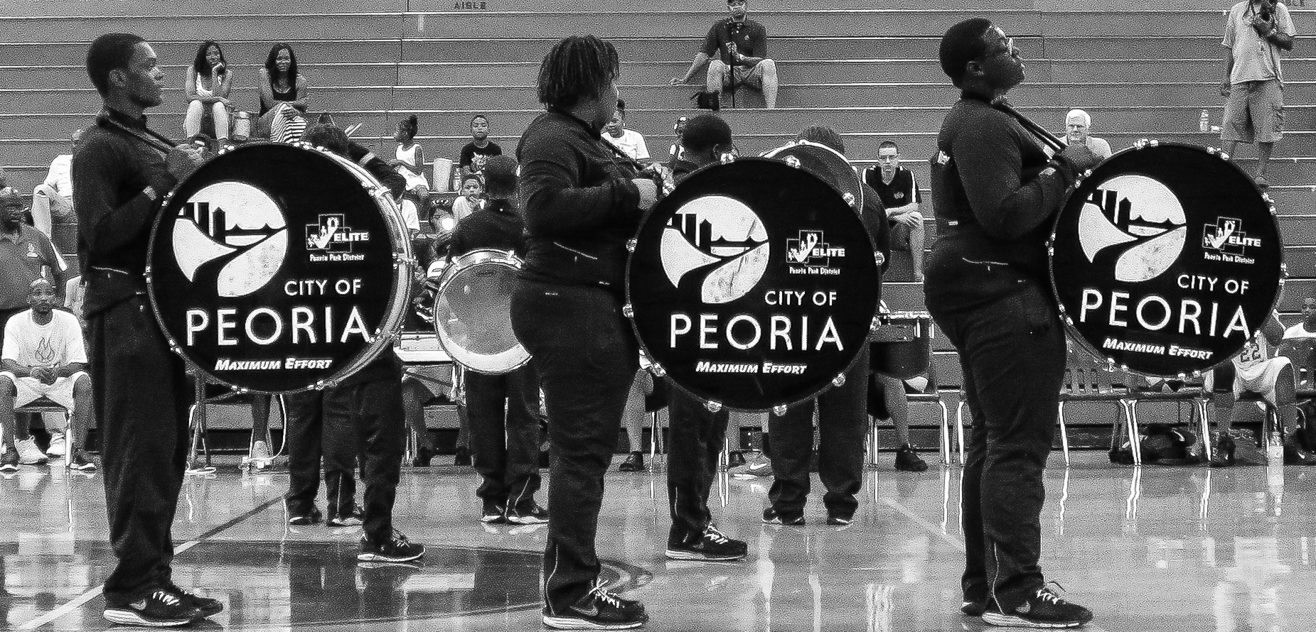 Base drummers performing before the start of the King City Monarchs vs Midwest Flames Basketball game at Woodruff High School in Peoria, IL