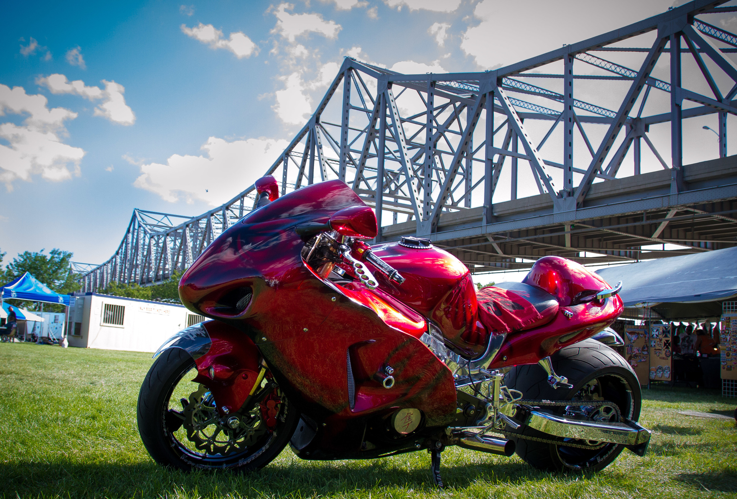 A custom 2005 Suzuki Hayabusa at the Peoria Grand Nationals Bike Rally in Peoria, IL
