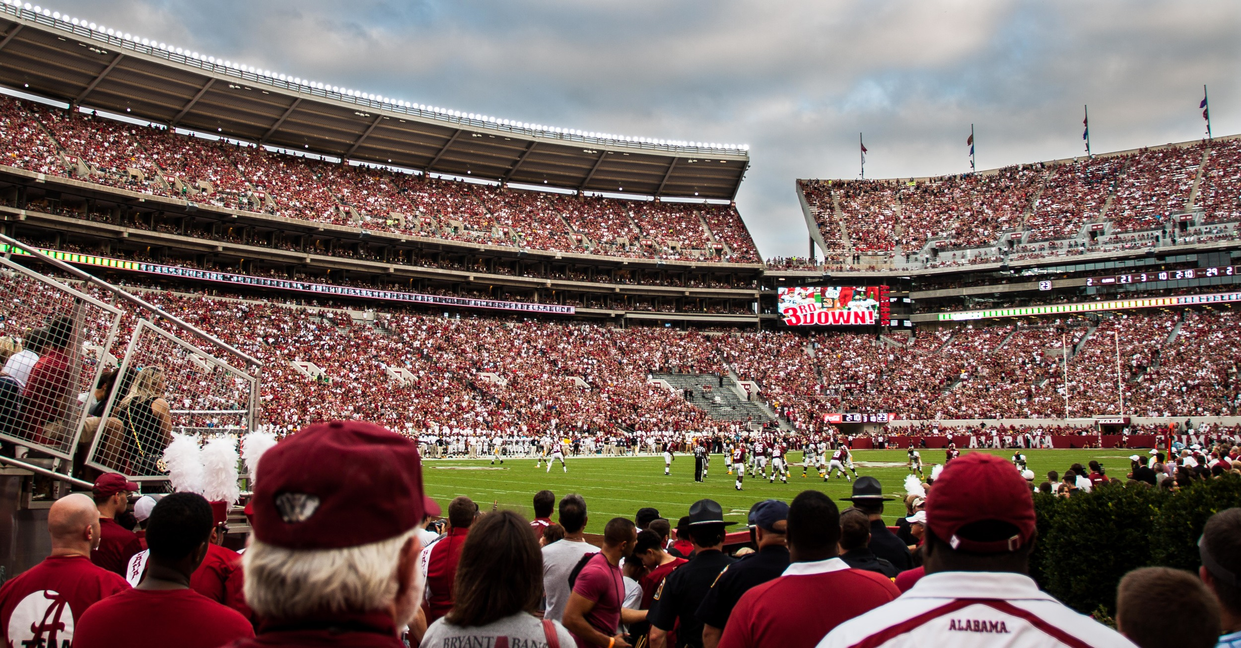 This shot was taken when by section N-1 when I was trying to find my way to the top of Bryant-Denny Stadium.  It was cool to be at ground level close to the action.