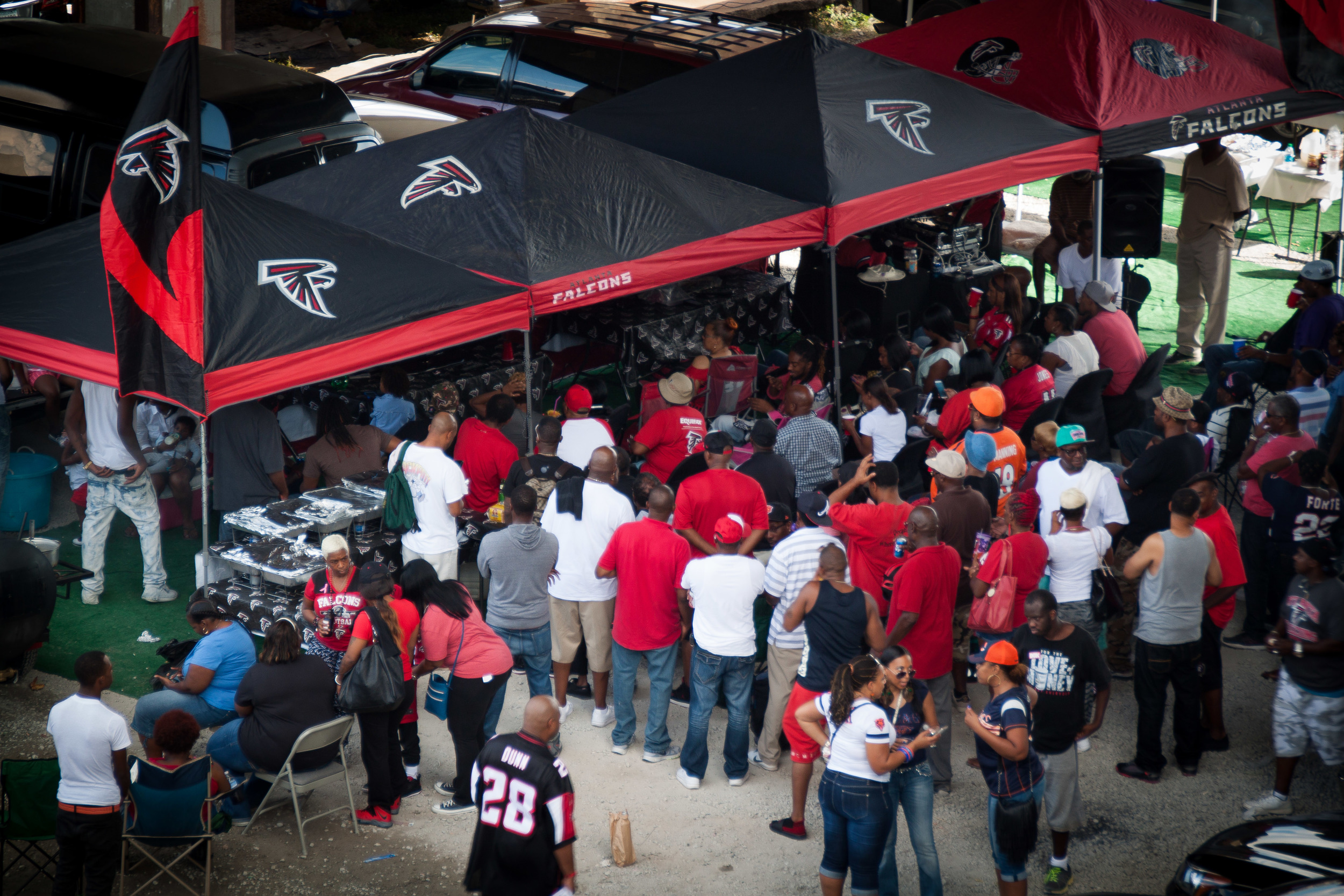 Falcons fans tailgating outside of the Georgia Dome