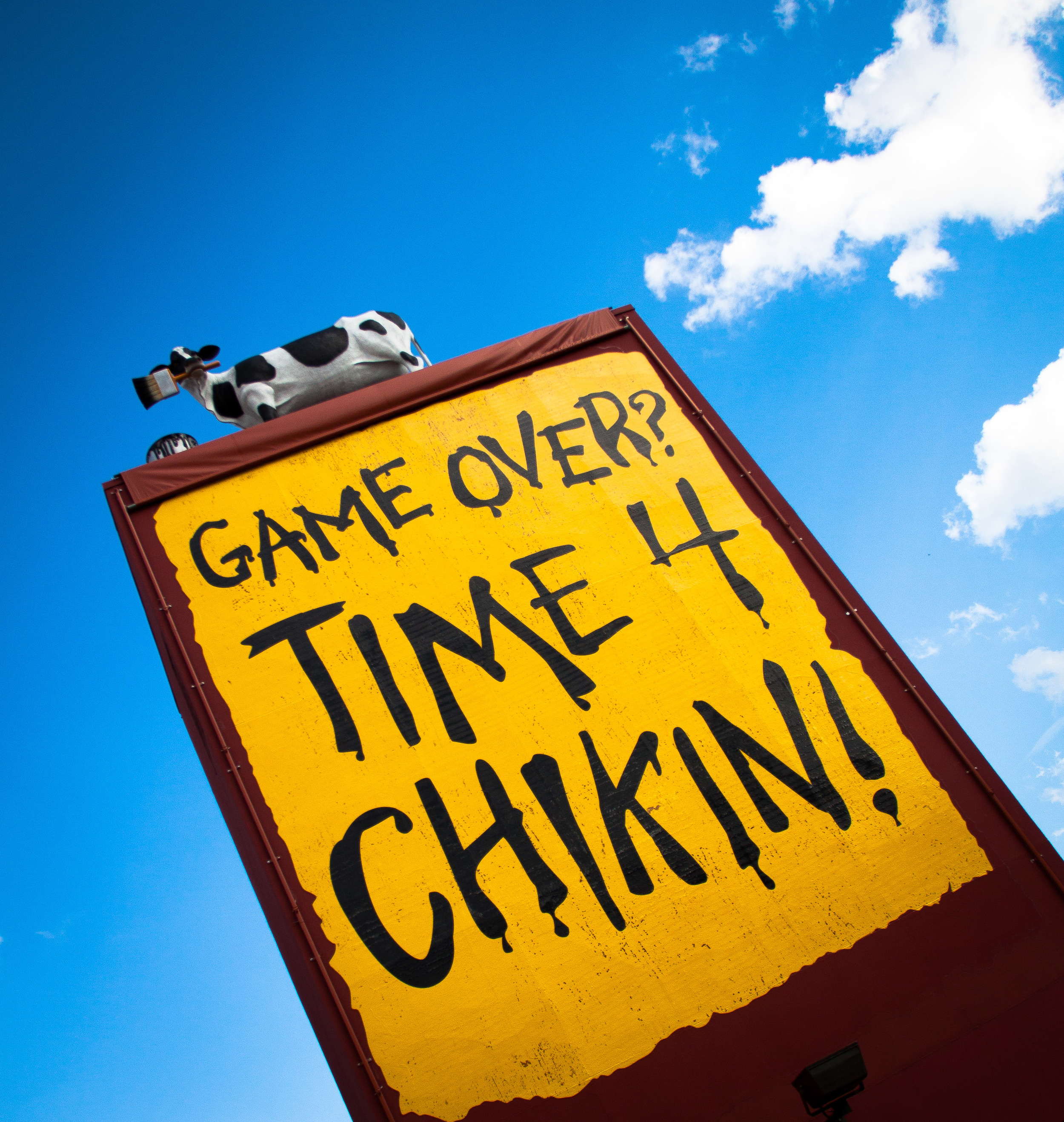 This Chic-Fil-A advertisement was outside of the Georgia Dome during the Week 6 match up of the Bears vs Falcons