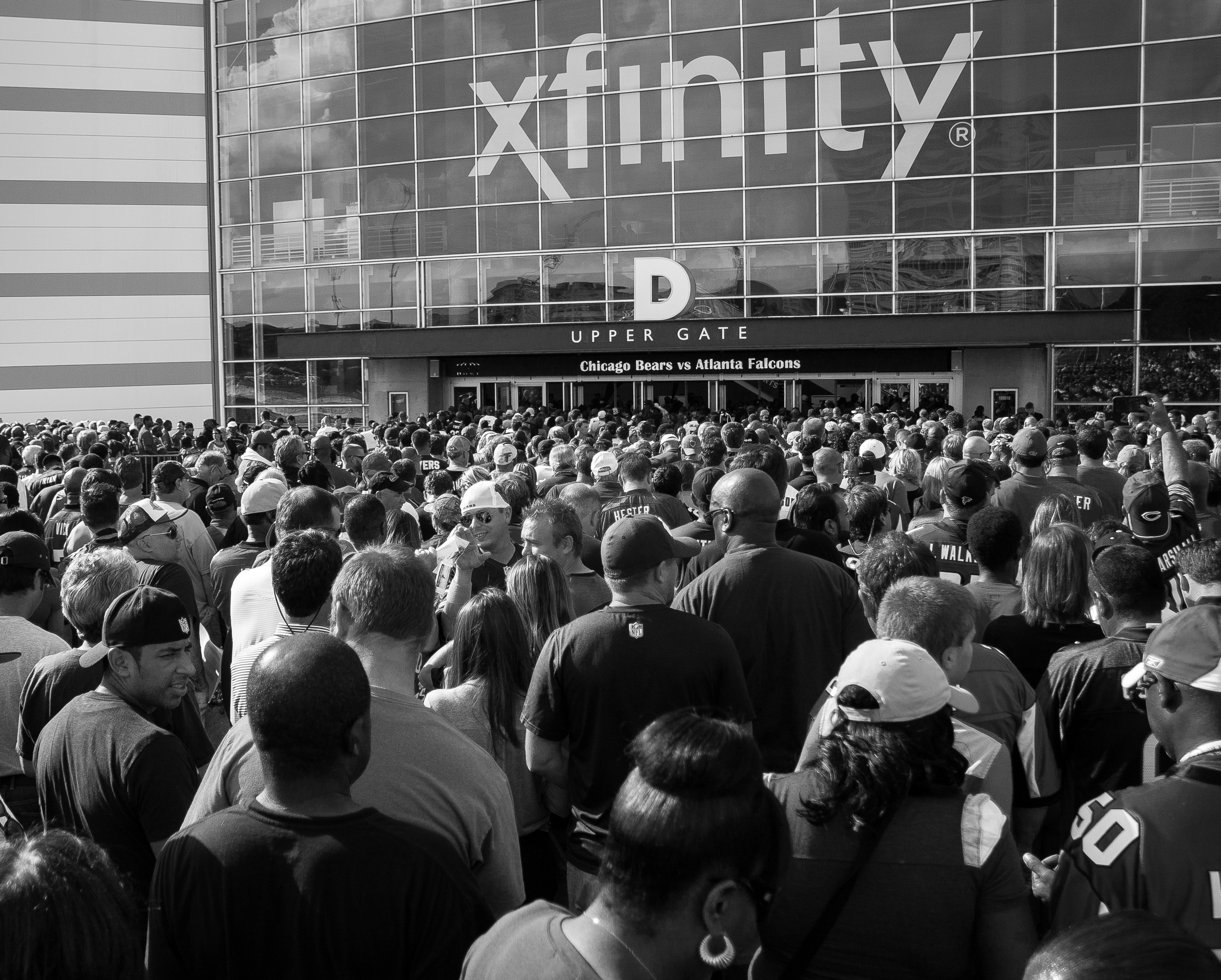 Fans in line waiting to enter the Georgia Dome to see Falcons vs Bears