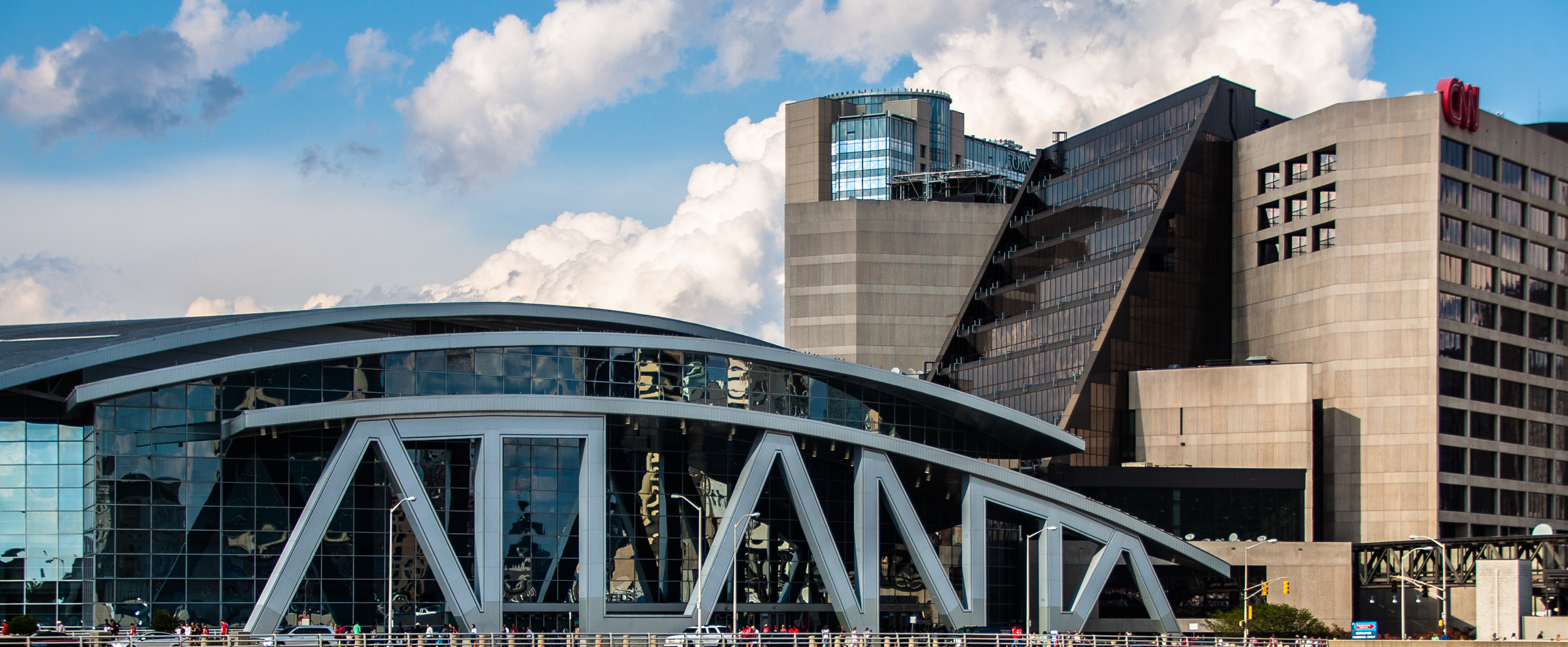 """I saw this in a time-lapse video I saw on Vimeo. When walking around I was happy to discovery it. The """"ATLANTA"""" that you see is the entrance to the Philips Arena."""