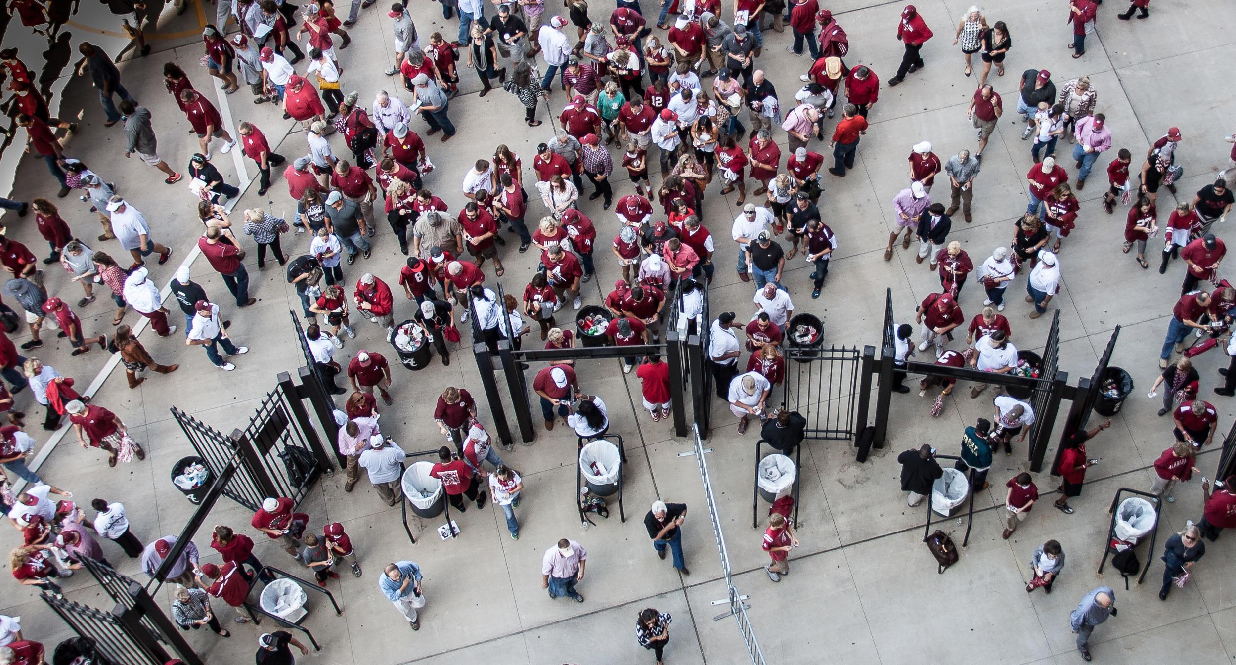 Shot looking down on Crimson Tide fans entering Bryant-Denny Stadium