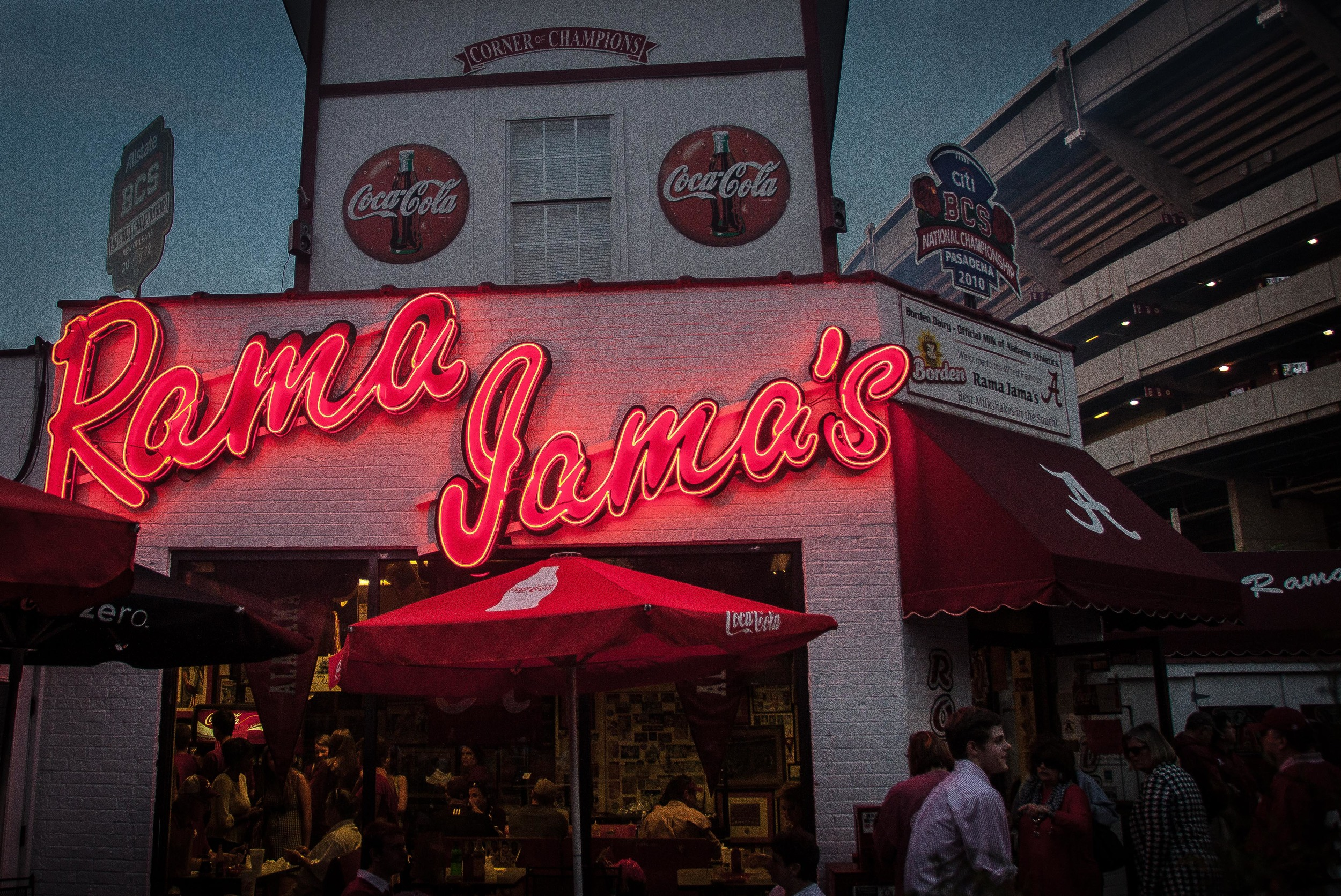 While walking around after the game I followed a line of people to Rama Jama's. This restaurant is on the corner of Paul W Bryant Dr and Wallace Wade Ave in Tuscaloosa, AL.